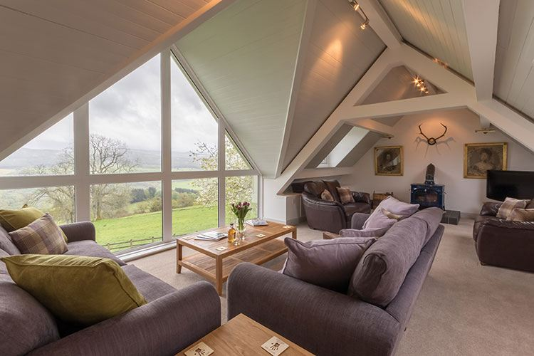 Aodin open plan living area with view of the Tay Valley