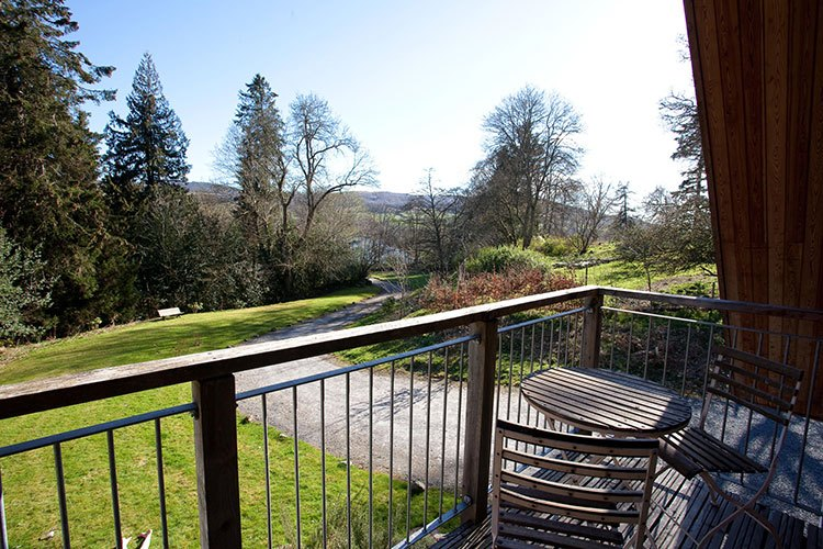 Boltachan Dell balcony with views over the Tay Valley