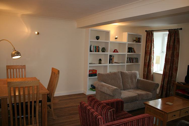 The Crown Apartment open plan living and dining area
