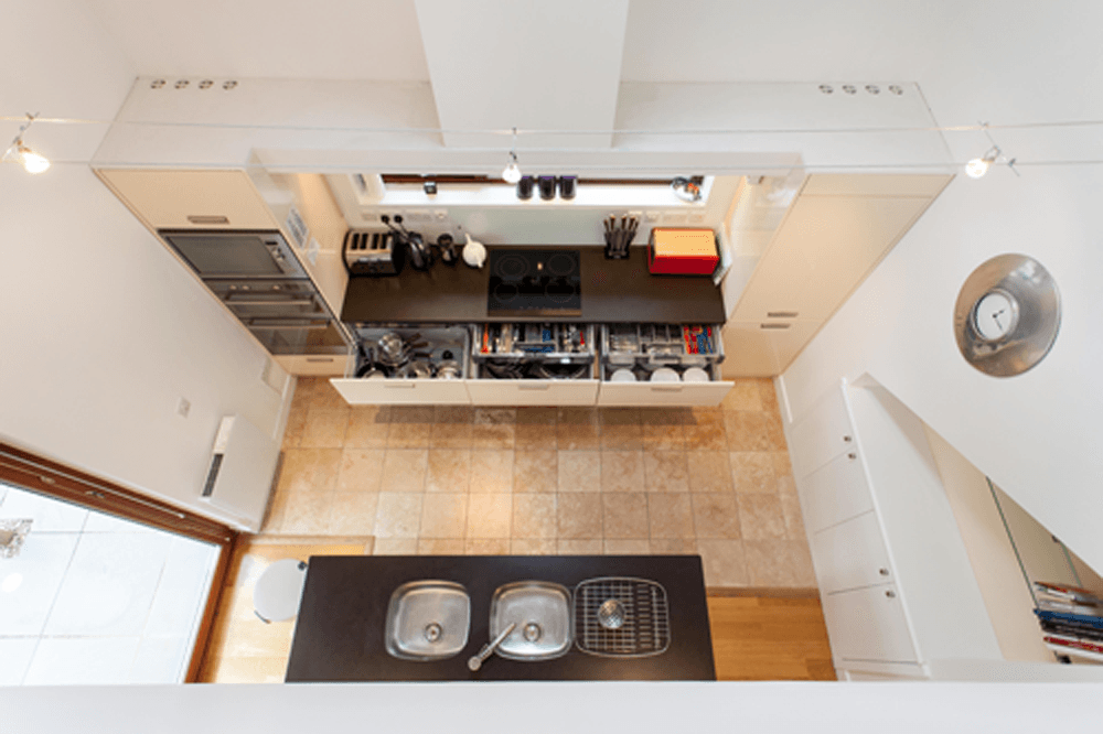 View from above of Boltachan Dell double height kitchen