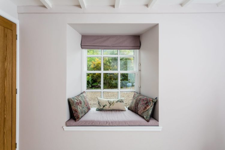 Croftness Cottage window seat with views to woodland