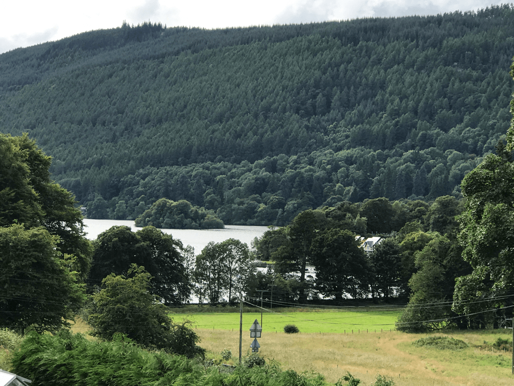 Saorsa view over Loch Tay and Kenmore in the highlands of Perthshire