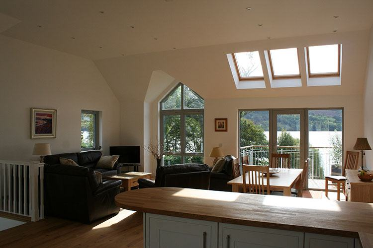 Craigard open plan living and dining area with views of Loch Tay