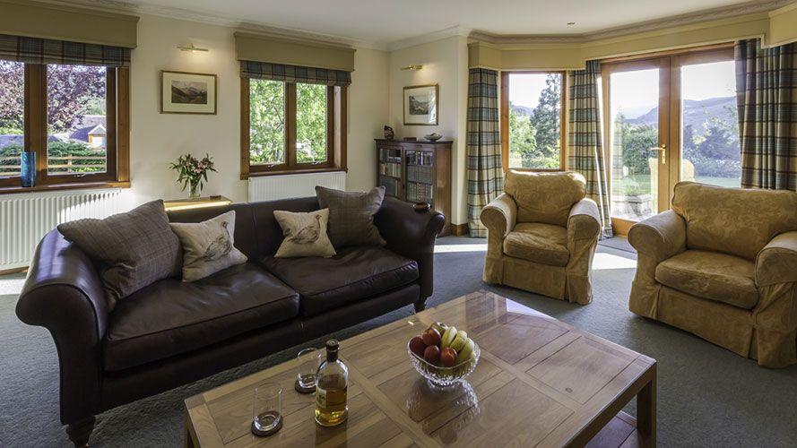 Mo Dachaidh living area with views towards Glen Lyon