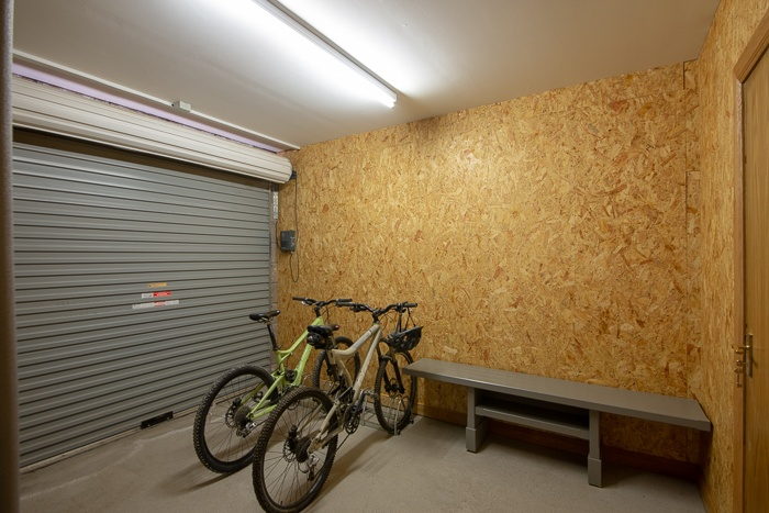 Integrated garage for bike storage. Please note bikes are not provided