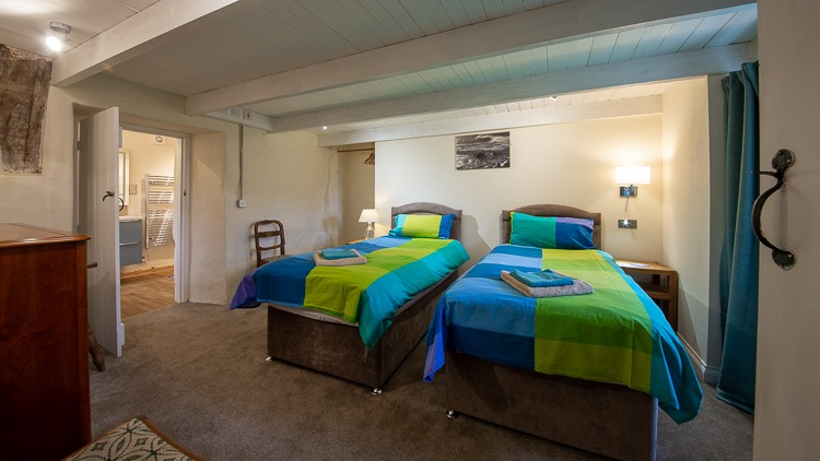 Twin bedroom with en-suite shower room.  Zip and link beds can be twin or super king