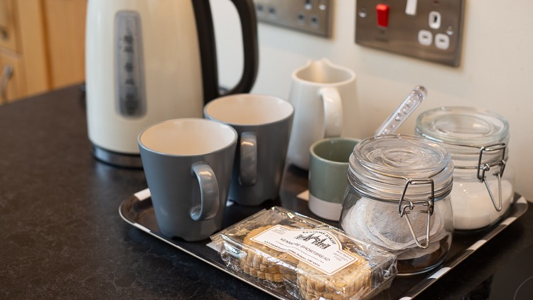 Welcome tray with fresh milk and local shortbread