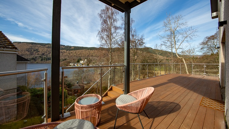 Balcony with breathtaking views of Loch Tay and Kenmore. Dining furniture arriving very soon and also a BBQ