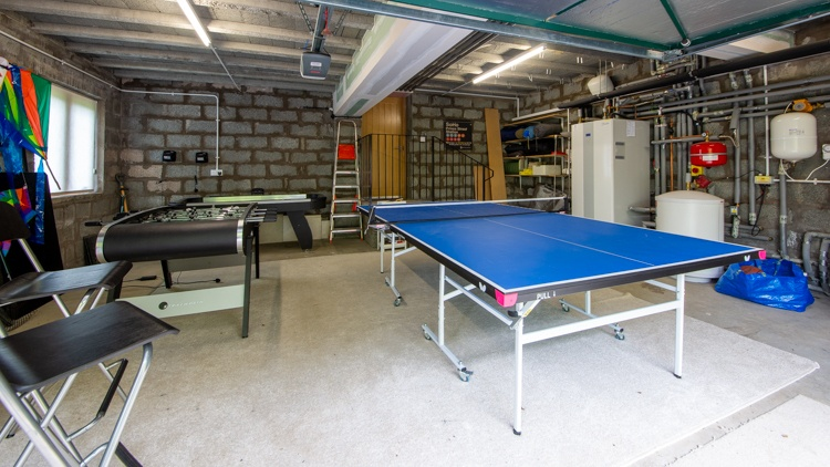 Garage Games Room with Ping Pong, Foosball and Air Hockey