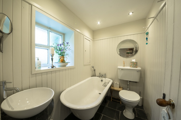 Downstairs Bathroom with traditional roll top bath
