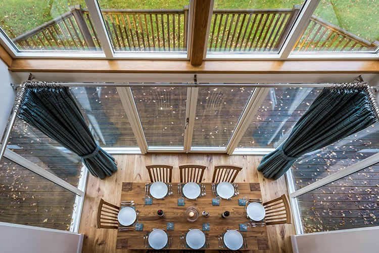 Tursachan view of double height glazed dining area